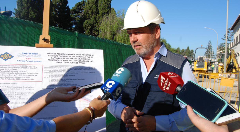 El presidente de la Autoridad Portuaria, José García Fuentes, en la presentación de la obra