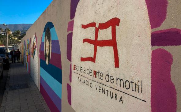 El mural de la zona norte de los alumnos de la Escuela de Arte de Motril
